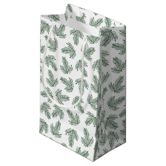 Green Pine Tree Branches Holiday Small Gift Bag