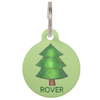 Green Pine Tree Outdoor Camping Hiking Dog Pet Tag