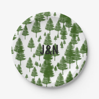 Green Pine Tree Rustic Country Wedding Plates