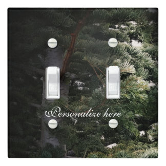 Green Pine Tree Rustic Woods Forest Personalized Light Switch Cover