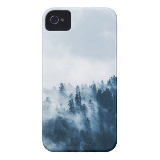 Green Pine Trees Covered With Fogs Under White Sky iPhone 4 Case