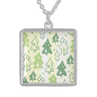 Green Pine Trees Forest Pattern Necklaces