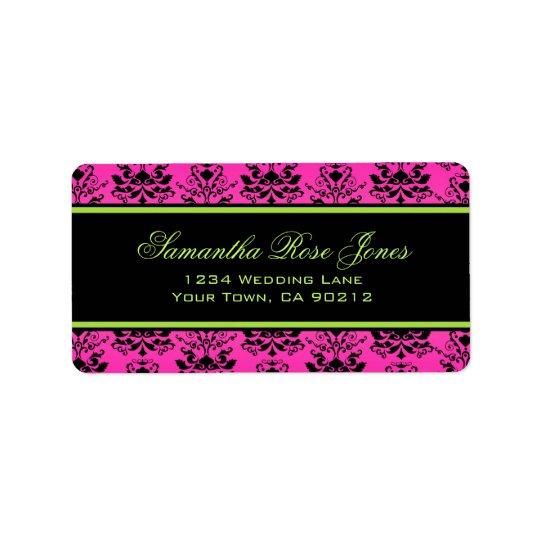 Green Pink and Black Damask Elegant Address