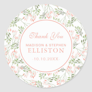 Green & Pink Botanical Watercolor | Thank You Round Sticker