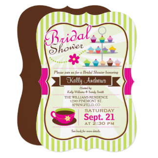 Green & Pink Bridal Shower Invitation