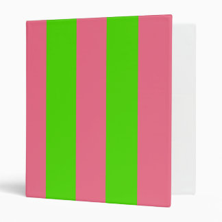 Green, Pink Candy Stripes 3 Ring Binders