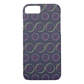 Green & pink circle pattern on grey background iPhone 7 case
