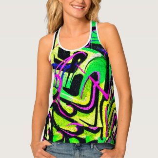 Green Pink Distressed Graffiti Tank Top
