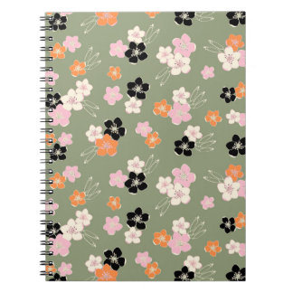 Green pink exotic hawaiian flowers chic notepad spiral note book