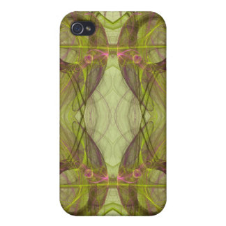 Green & Pink Fractal 4  Case For The iPhone 4