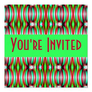 "green pink fractal 5.25"" square invitation card"