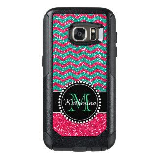 Green& Pink Glitter Chevron Personalized Defender OtterBox Samsung Galaxy S7 Case