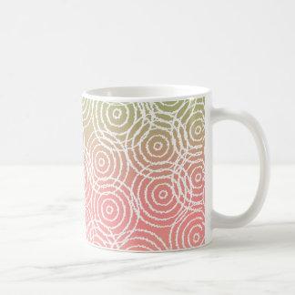 Green Pink Ikat Overlap Circles Geometric Pattern Mugs