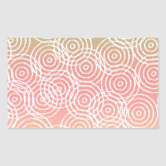Green Pink Ikat Overlap Circles Geometric Pattern Rectangle Stickers