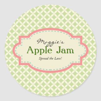 Green Pink Jam Jar Labels, Custom Classic Round Sticker
