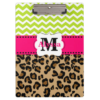 Green Pink Leopard Chevron Personalized Clipboard