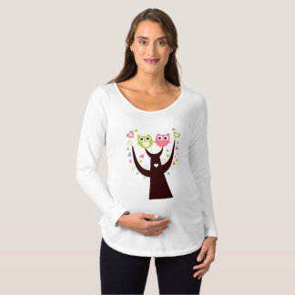 Green Pink Owl Sitting on Branch Maternity T-Shirt