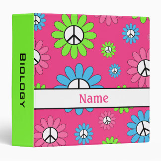 Green Pink Personalized Peace Sign School Binder