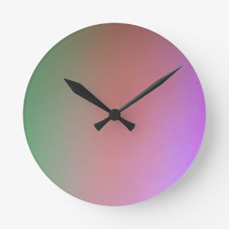 green pink purple round clock