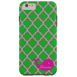Green/Pink Quatrefoil Pink Whale iPhone6 Case