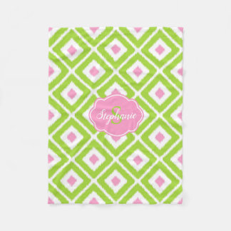 Green, Pink White Ikat Diamond Pattern Fleece Blanket