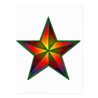 Green Pinwheel Star Postcard