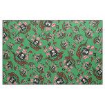 Green pirate ship pattern fabric