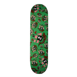 Green pirate ship pattern skateboard deck