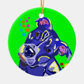 Green Pit Bull Terrier Christmas Tree Ornament