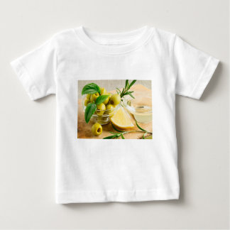 Green pitted olives decorated with herbs baby T-Shirt