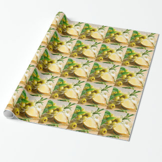 Green pitted olives decorated with herbs wrapping paper