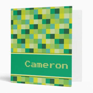 Green Pixelated Pattern Personalized Binder