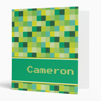 Green Pixelated Pattern Personalized Vinyl Binders