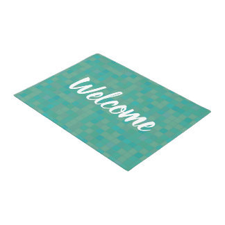 Green pixels mosaic door mat
