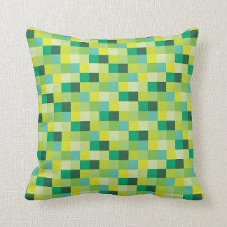 Green Pixels | Pixelated Pattern | Gamer Throw Pillow