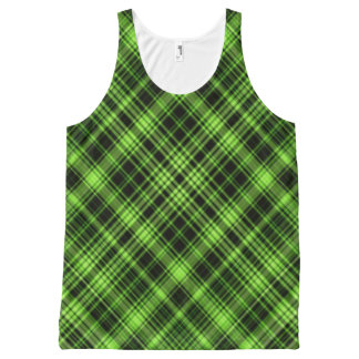 Green Plaid All-Over-Print Tank Top