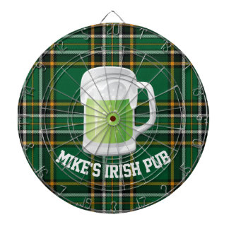 Green Plaid and Beer Custom Dart Board