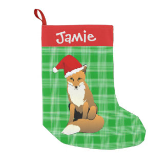 Green Plaid and Fox Small Christmas Stocking