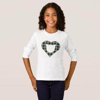 Green Plaid Cat Heart T-Shirt