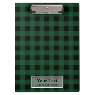 Green Plaid Checkered Rustic Country Personalized Clipboard