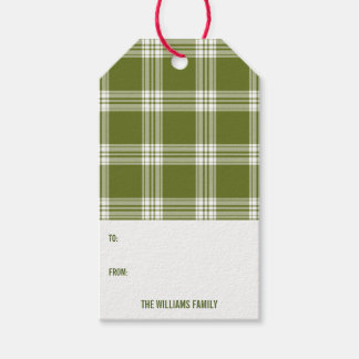 Green Plaid Christmas Holiday Gift Tag