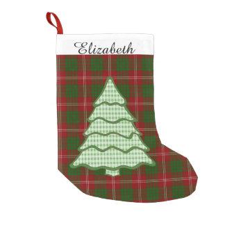 Green Plaid Christmas Tree V2 Small Christmas Stocking