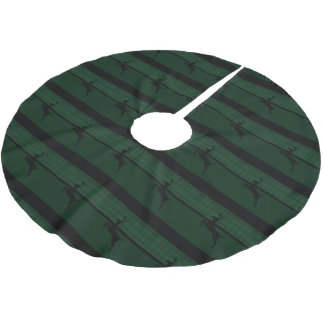Green Plaid Deer Brushed Polyester Tree Skirt