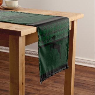 Green Plaid Deer Short Table Runner