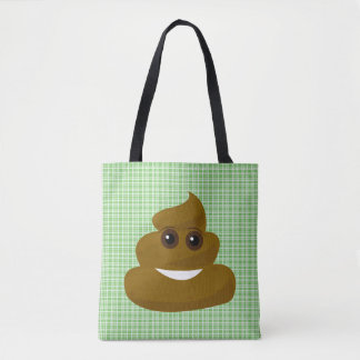 Green Plaid Emoji Poop Tote Bag