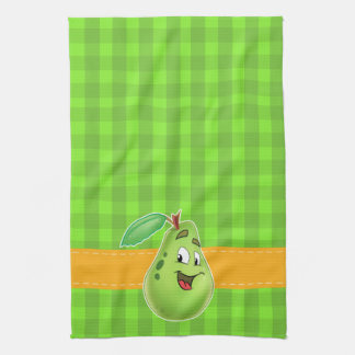 Green plaid kitchen towels with cartoon pear