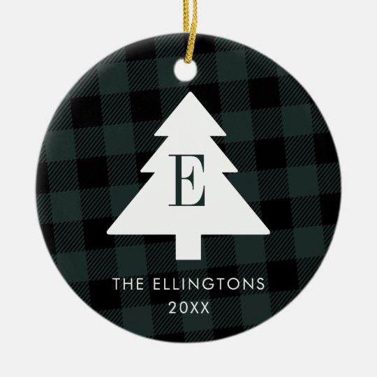 Green Plaid Monogram Christmas Ornament with Photo