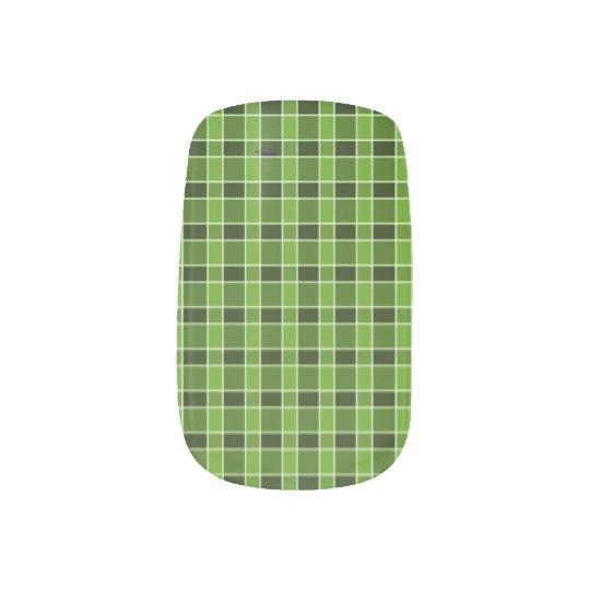 Green Plaid Nail Art