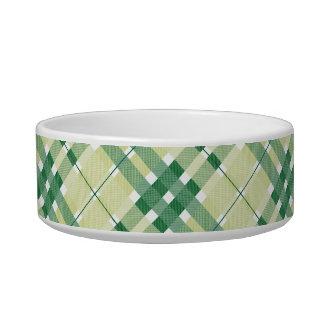 Green Plaid Pattern Pet Bowl