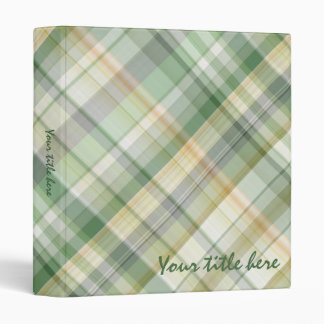 Green plaid pattern vinyl binder